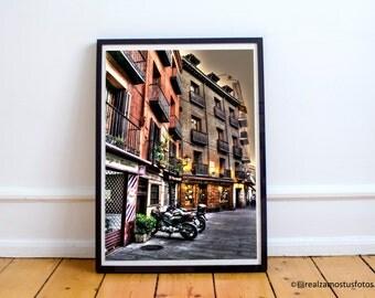Madrid Photo,  Cutlers Street, Casa Botín Restaurant, from Madrid, Spain, urban.