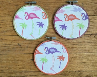 Embroidery Hoop, Flamingo Hoop Art, Summer Wall Art, Hostess Gift, Hoop Art, Fabric Hoop Art, Pink Flamingo, 4inch Hoop Art