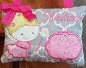 Personalized Tooth Fairy Pillow Girl, Toothfairy Pillow, Embroidered Gift, Loose Tooth, Door Hanger, Hang Bed Post