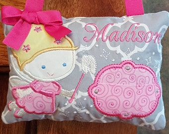 Personalized Tooth Fairy Pillow Girl, Toothfairy Pillow, Embroidered Gift, Loose Tooth, Door Hanger, Hang Bed Post, Pink Gray Tooth Pillow
