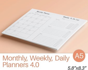 """A5 Planner Inserts DAILY WEEKLY MONTHLY Planner A5 (5.83"""" x 8.27"""") Printable pdf Filofax Undated  To Do list Instant Download. 10 Planners."""