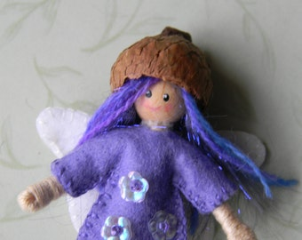 light purple fairy pixie bendy doll, Christmas ornament