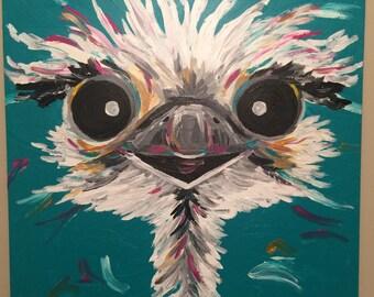 Ostrich Painting custom, colorful fun animal art, painting of an ostrich. Whimsical animal art, ostrich art