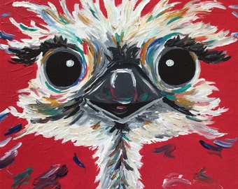 Ostrich art print from original canvas painting, colorful fun Ostrich