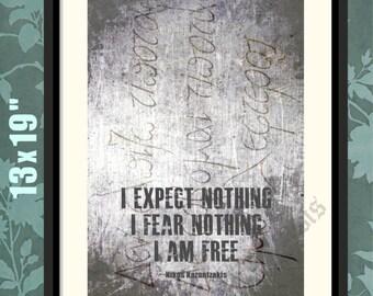 Nikos Kazantzakis,2, Tomb Epitaph, Kazantzakis Quote, Kazantzakis Print, Kazantzakis Poster, Kazantzakis Art, Kazantzakis Decor, Greek Print