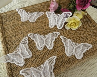 6 pieces of 3D double layer embroidered butterfly applique motif, off white