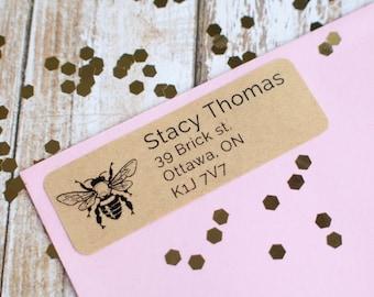 vintage bee return address sticker label custom brown kraft