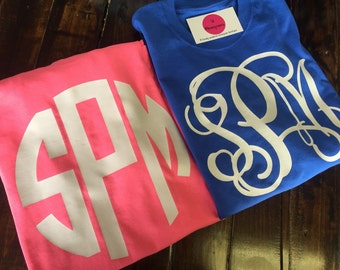 30 Colors to Choose From Large Center Chest Monogram