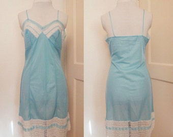1960s Light Blue Full Slip with Lace Trim S B37