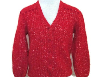 1980s Red Wool and Gold Lurex Cardigan XS B32