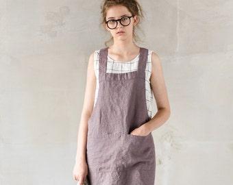 Short square cross linen apron/ japanese style apron. No ties apron in caffe mocha/purple