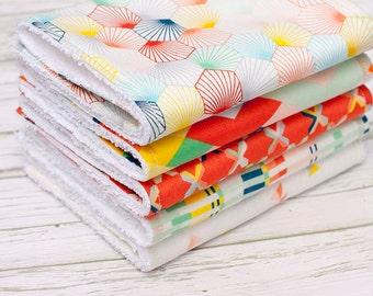 Baby Burp Cloths Set of 5, Baby Gift, Baby Shower Gift, Gender Neutral Burpcloths, Unisex Burp Cloths, Bright Burp Cloths