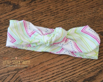 Top Knot Headband, Baby Headband, Toddler Top Knot, Hair Bow, Geometric