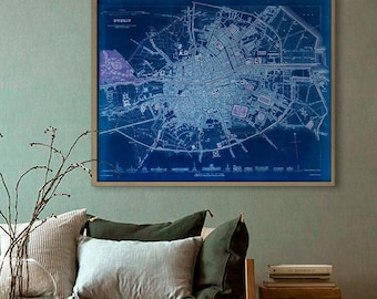 "Map of Dublin 1836 Old Dublin Map, Blue or Sepia, 3 sizes up to 30x24"" 75x60 cm stylish map of Dublin, Ireland - Limited Edition of 100"