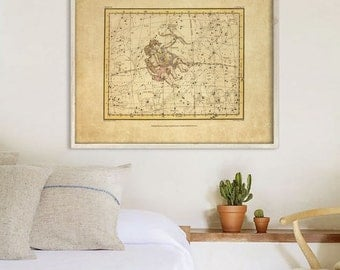 """Gemini sign print 1822 Vintage Gemini constellation zodiac star map, 4 sizes up to 36x30"""" (90x75cm) Astrological - Limited Edition of 100"""