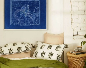 "Aquarius sign print 1822, Vintage Aquarius constellation zodiac star map, 4 sizes up to 36x30"" (90x75cm) - Limited Edition of 100"