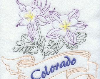 Colorado - Columbine Embroidered Flour Sack Hand/Dish Towel