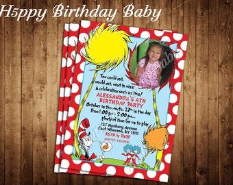 Digital File Only *** Customizable Dr. Seuss Birthday Invite!!!
