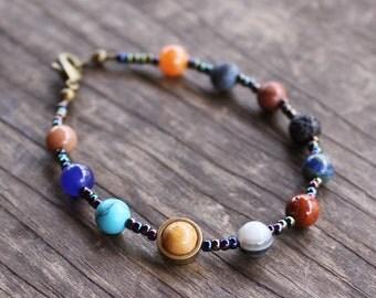 Solar System Bracelet, Planet Bracelet, Cosmic Bracelet, Outer Space Bracelet, Planets, Astrology, Astronomy, Universe, Seed Bead Bracelet