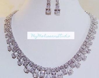 Stuning wedding necklace set, top quality necklace set, wedding jewlery set, bridal jewelry set, high quality cubic zirconia jewelry