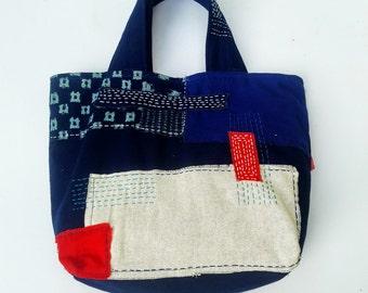 Indigo Totes Bag, Line Stitched Bag,Hand Stitched Tote Bag,Sashiko Bag