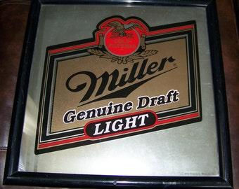 Vintage Miller Genuine Draft Mirror Bar Sign Miller Brewing Advertising Beer Framed Mirror Pub Brewery