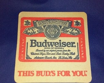Five Vintage Budweiser Coaster Collection Retro  Anheuser Busch Advertising This Buds For You Hooters