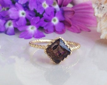 20% off- SALE!!! Smoky Quartz Ring - Brown Ring - Genuine Gemstone Ring - Vintage Style - Square Ring - Smoky Topaz - Simple Jewelry