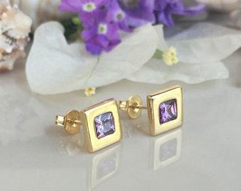 20% off-SALE!!! Amethyst Earrings - February Birthstone - Square Earrings- Shiny Earrings - Post Earrings - Delicate Studs - Simple Earrings