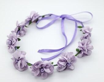 Baby Flower Crown, Toddler Flower Crown, Lavender Lilac Flower Crown, Girls Flower Crown, Flower Girl Headband, Wreath Floral Crown, 1079