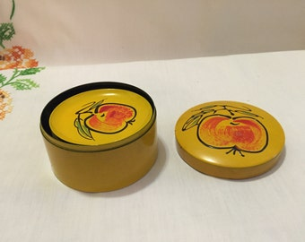 Vintage 5 Piece Coaster Set with Fruit Design and Matching Box