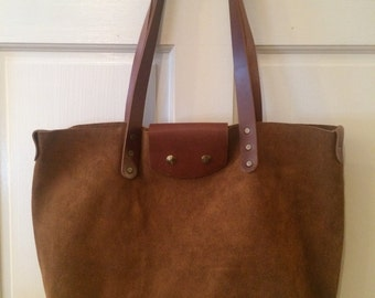 Handmade Suede and Leather Tote bag