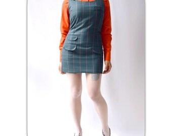 Blue checkered RELCO jumper dress Tonic type. Skingirl mod Skinhead