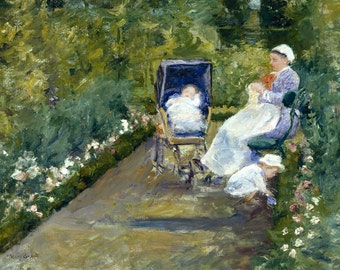 Children In A Garden (The Nurse) by Mary Cassatt, in various sizes, Canvas Giclee Print