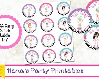 Spa Party Theme Printables - Spa Party Label - Spa Birthday Party Tag - Spa Party Sticker - Spa Cupcake Topper - Spa Party Digital File