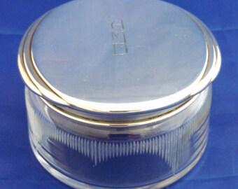 Large Art Deco sterling & etched glass dresser jar, monogram