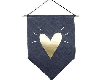 Gold heart small Jeans fabric Banner flag Gold wall flag Inspirational flag Scandinavian design Love design