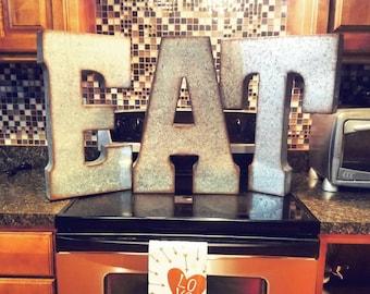 "Super Sale! One Galvanized Metal Letter, Large 20"" letter, vintage, distressed finish,choose your letter, color or distressed finish"