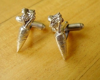 One Pair Of Sterling Silver Carrot Cufflinks