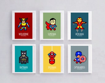 6 posters of super heroes; Batman, wolverine, batman, nursery decor, wall art, art print