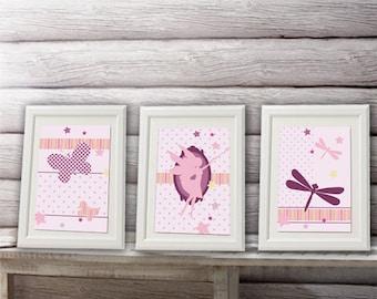 3 posters fairy, wall decor, girl room decor, fairy decoration
