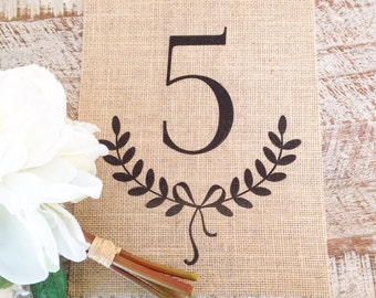 Number Burlap Print with Wreath Ribbon   Rustic and Farmhouse Home Decor   New Home, Anniversary, Birthday Gift   Family Number