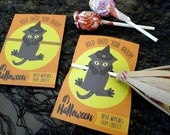 Cat Witch Halloween DIY Printable Cards and Treat Holders Mini School / Classroom Size, Personalized - INSTANT DOWNLOAD