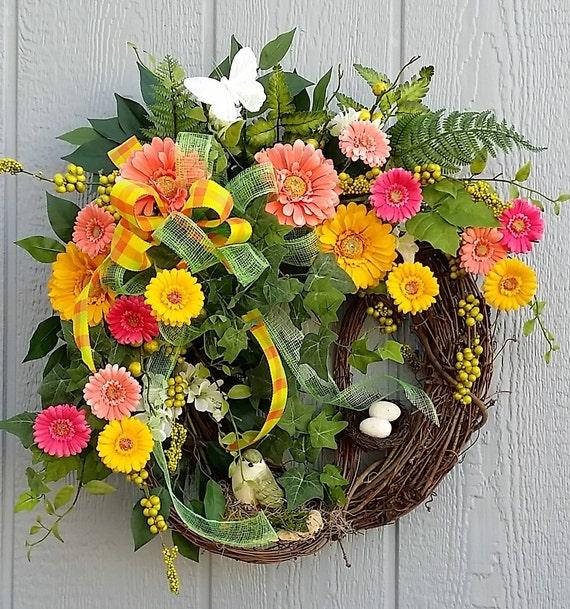 Spring wreath summer wreath colorful wreath gerbera daisy for Colorful summer wreaths