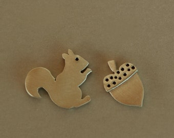 Squirrel and Acorn Stud Earrings Sterling Silver 925 Bird Earrings Artisan Handmade Studs Silver Mini Zoo Studs
