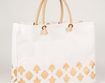 Monogrammed Tote in Gold