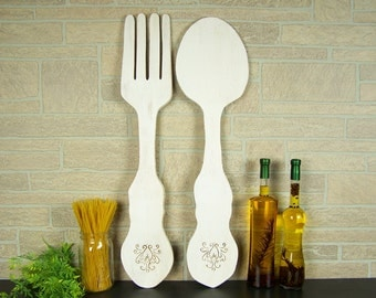 Large Fork And Spoon Wooden Wall Decor Kitchen Decor Wooden Wall Art Farmhouse Decor Dining Room Decor Restaurant Decor Rustic Wall Decor