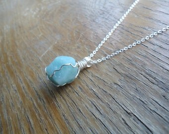 Green Amazonite Necklace - Amazonite Pendant - Wire Wrapped Crystals - Healing Jewelry - Handmade Gifts
