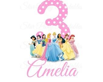 Personalized Disney Princess Digital Image for T shirt, Printable Iron On Transfer, Birthday Shirt, Sticker custom Birthday Shirt image
