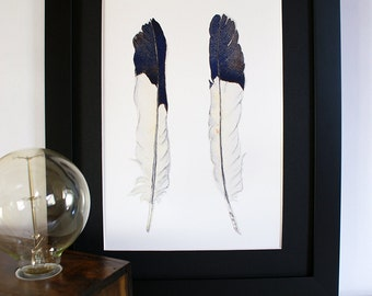 Australian Magpie Feather Print - monochrome black & white feathers minimalist print - A4 vertical print - modern minimalist decor